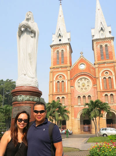 Nadia and JM in Front of Notre-Dame Basilica Saigon