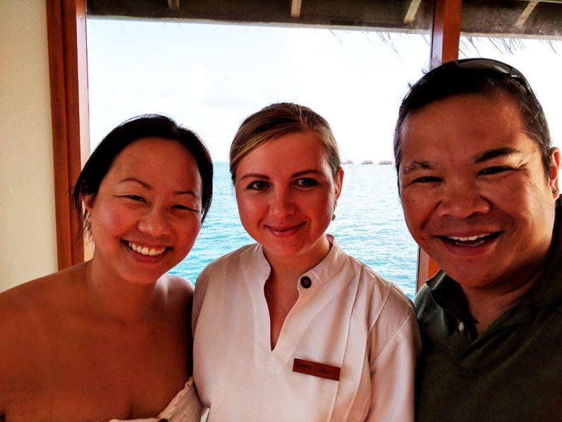 Nadia and JM with Conrad Maldives Liason Olga