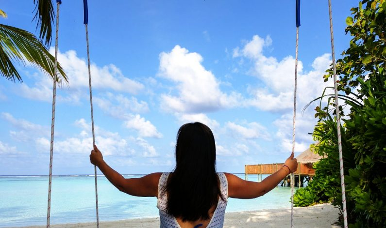 Nadia on the Conrad Maldives Swing