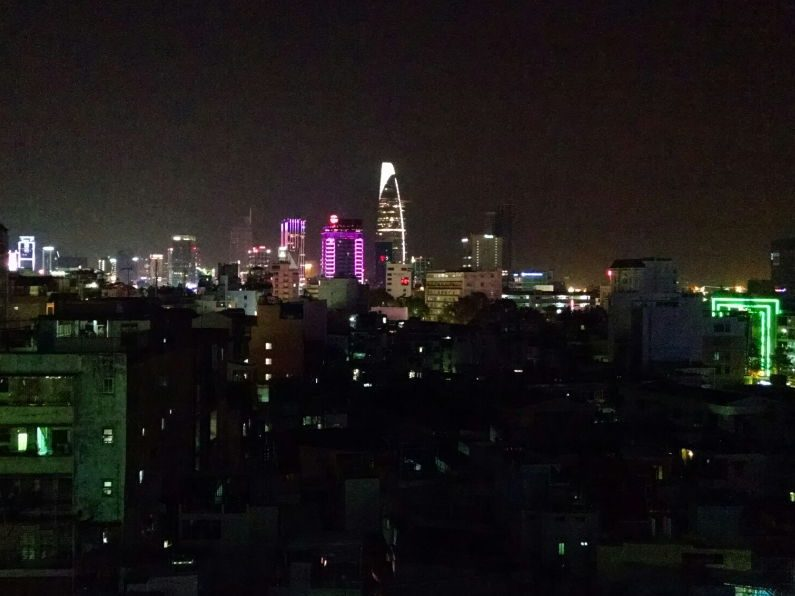 Nighttime View from the Rooftop Bar at Duc Vuong Hotel Saigon