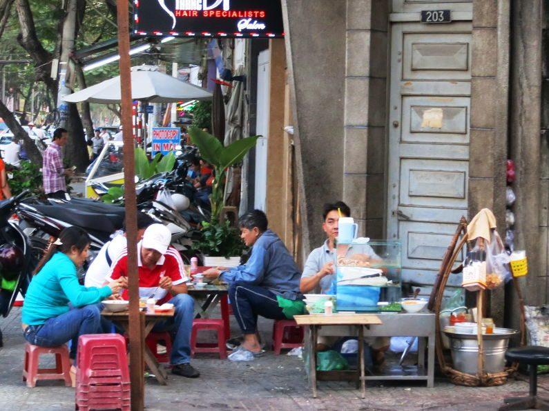 Street View of the Banh Canh Cua Vendor Saigon