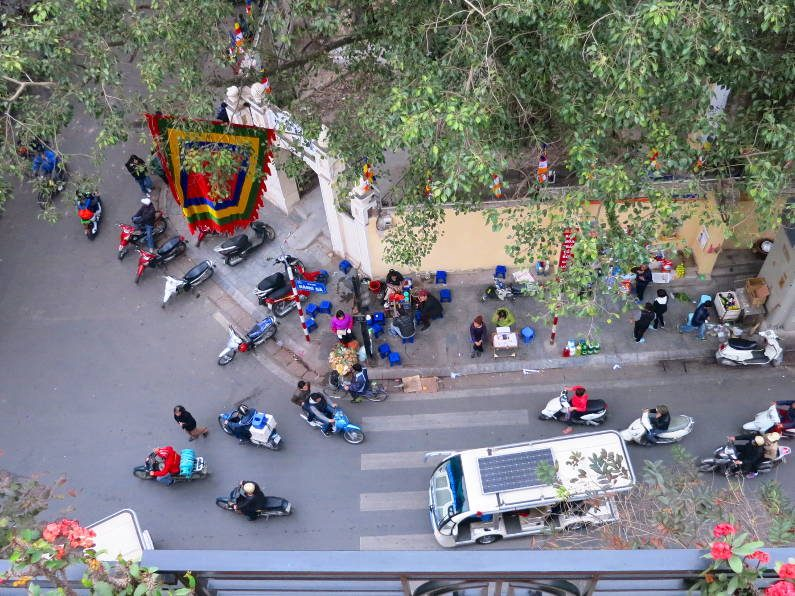 View of the Street From Our Room at the Charming 2 Hotel Hanoi