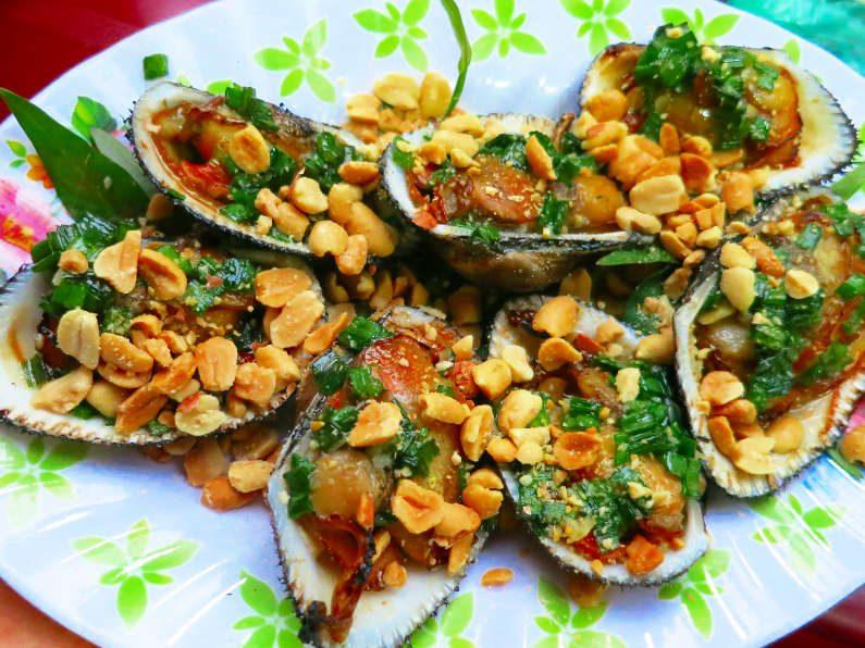 Chopped Peanut Covered Grilled Clams at Quan Oc Co Sang Saigon
