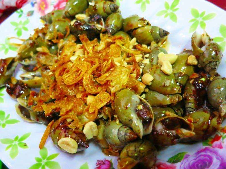 Close Up of Fried Garlic Topped Snails at Quan Oc Co Sang Saigon