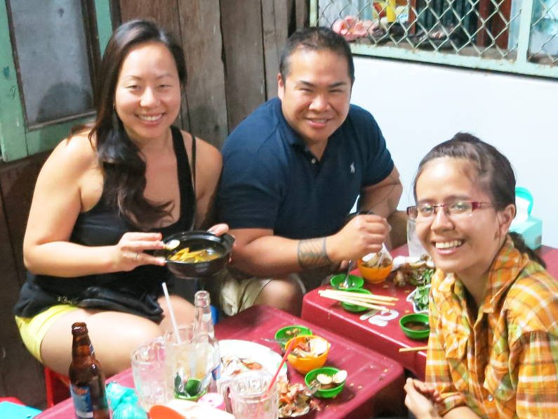 Nadia JM and Van Eating at Quan Oc Co Sang Saigon