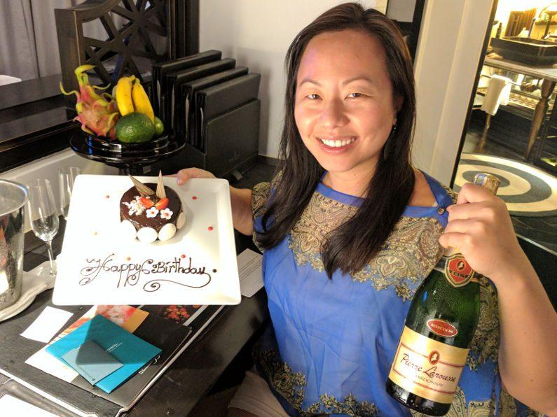 Nadia and Birthday Cake at the Intercontinental Da Nang Beach