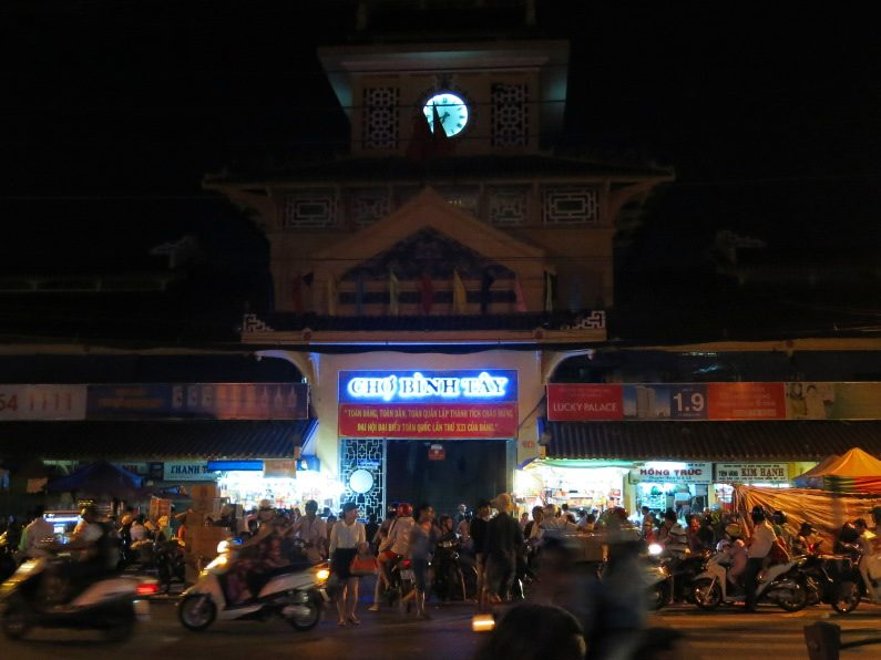 Night Shot of Binh Tay Market Saigon