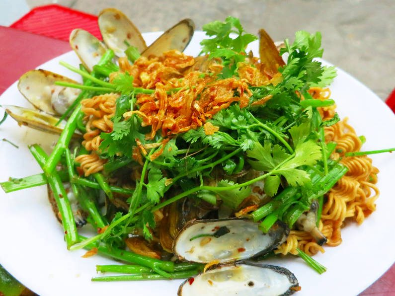 Razor Clams with Vegetables Over Noodles at Quan Oc Co Sang Saigon