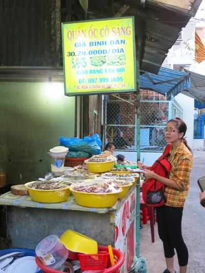 Van Ordering Dinner at Quan Oc Co Sang Saigon