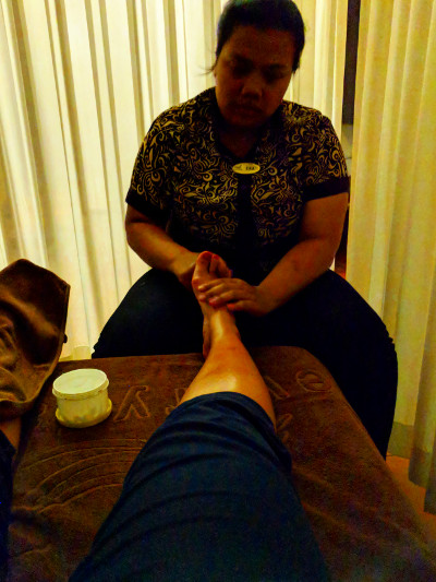 Nadia Getting Foot Massage at Everyday Spa in Bandung in Indonesia