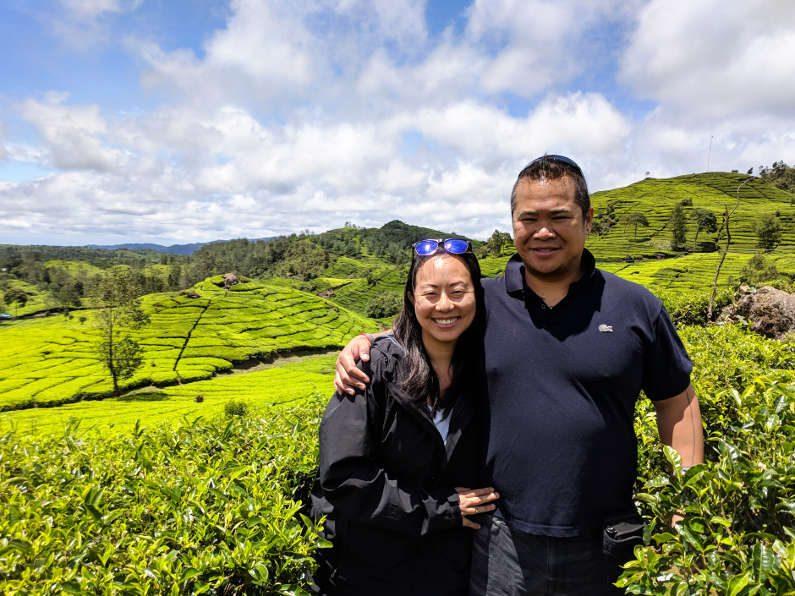 Nadia and JM in Tea Field in Bandung Indonesia