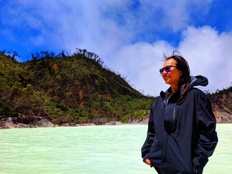 Nadia at Shore of the White Crater in Bandung Indonesia