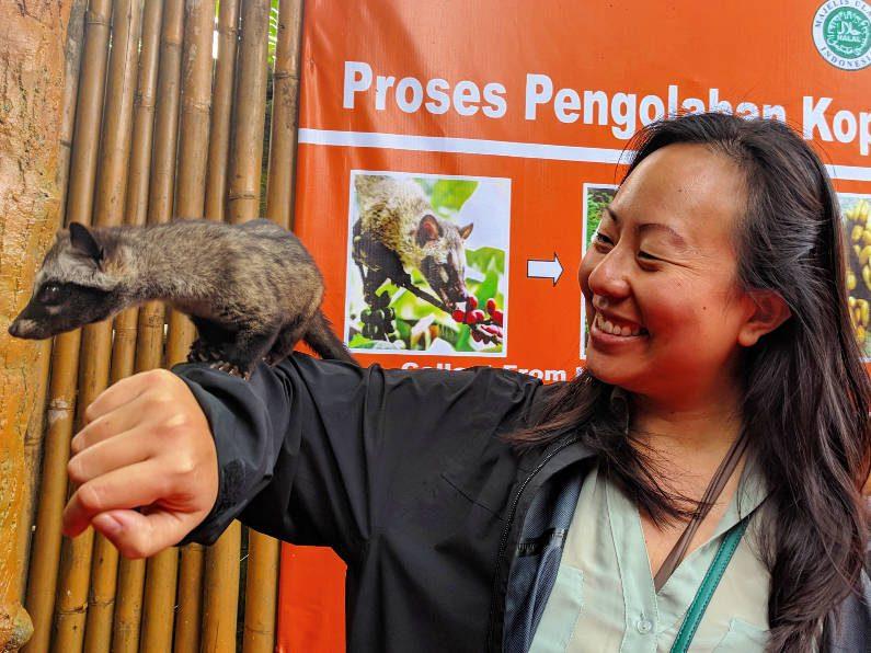 Nadia with a Luwak Civet in Bandung
