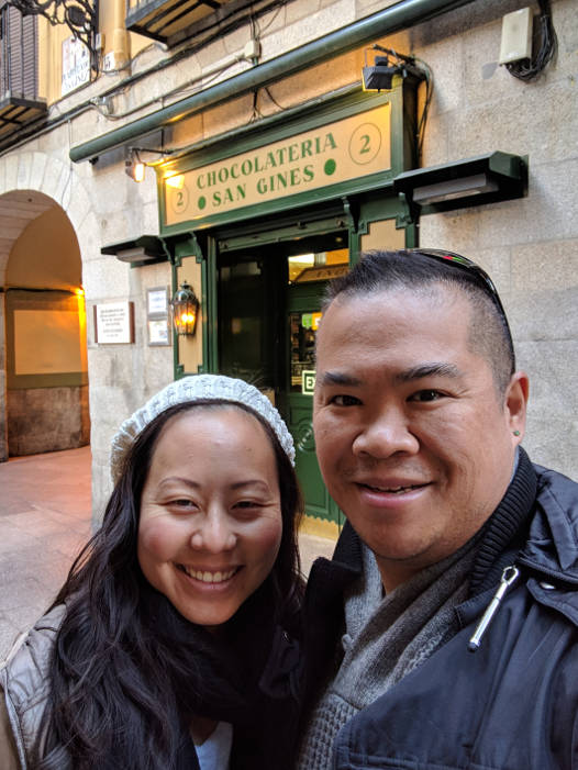 Nadia and JM in front of Chocolateria San Gines