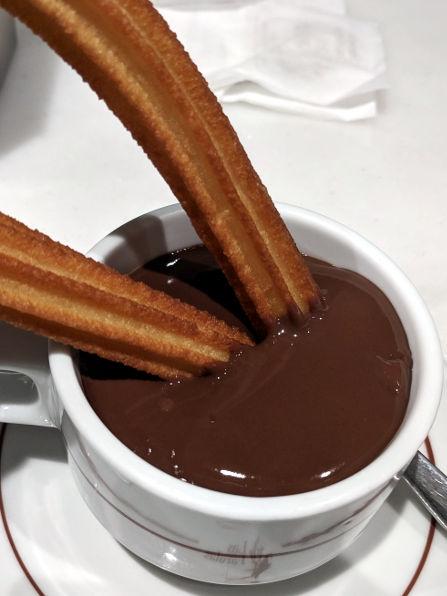 Churrería-Chocolatería Las Farolas Churro Dipped into Chocolate