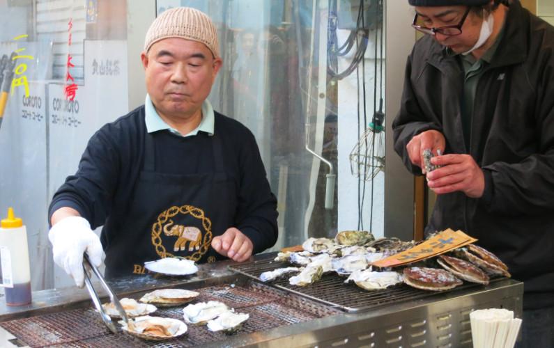 Clam Seller Tsukiji Market Tokyo Japan 02