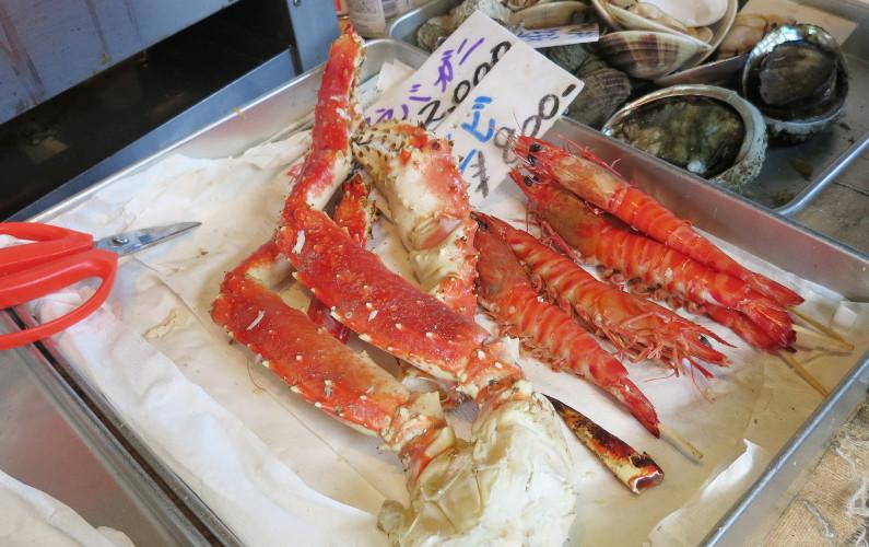 Crab Shrimp and Clam Tsukiji Market Tokyo Japan