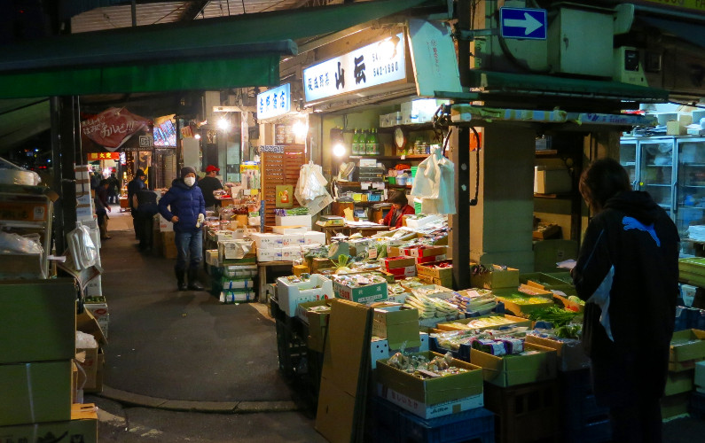 Men at Work in the Early Hours Tsukiji Market Tokyo Japan 02