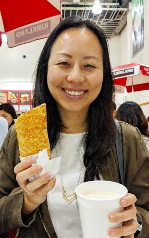 Nadia holiding Costco bulgogi bake and chowder Kawasaki Tokyo Japan