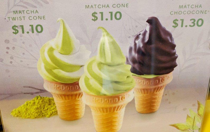 Signage Matcha Green Tea Soft Serve McDonalds Singapore