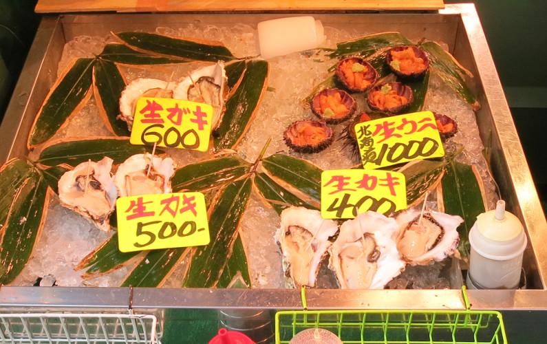 Uni and Oyster Seller Tsukiji Market Tokyo Japan