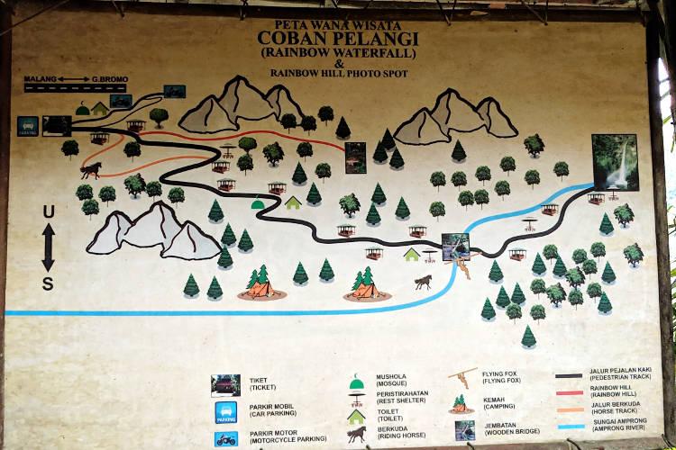 Map Air Terjun Coban Pelangi Waterfall