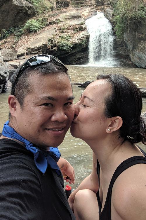 Chiang Mai Waterfall Nadia and JM Kiss