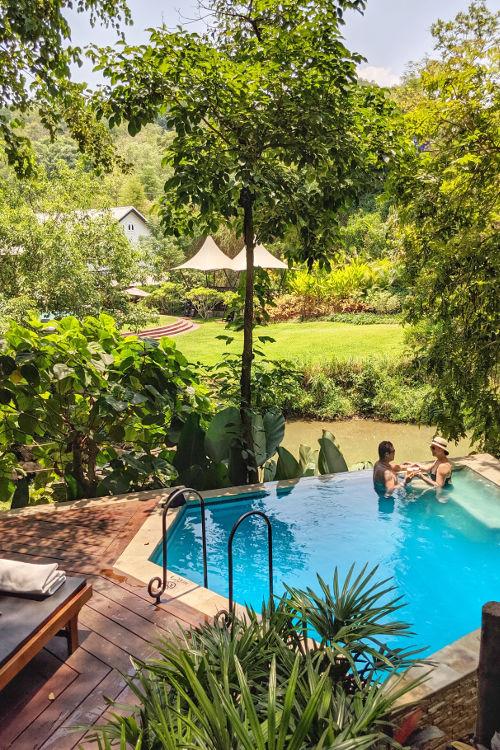 Nadia JM at the Rosewood Villa Pool Luang Prabang Laos