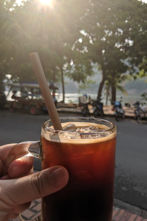 Saffron Coffee and Mekong River Luang Prabang Laos 2019